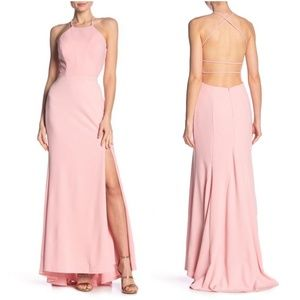Jump Apparel Pink Open Back Halter Gown Large